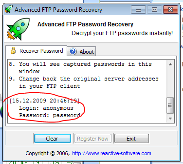 Using Advanced FTP Password Recovery to find SmartFTP password