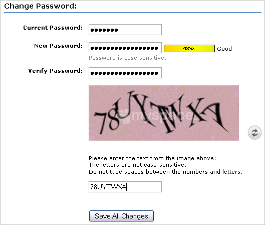 how to change password on MySpace