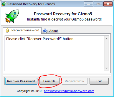 Reveal Gizmo5 password