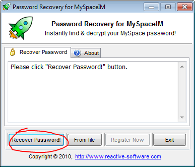 MySpace password