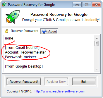 Gmail Notifier password recovery