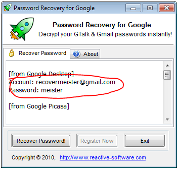 Google Desktop Password Recovery