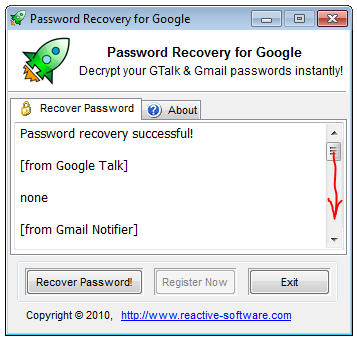 Retrieve Google Talk password