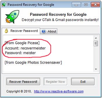 Picasa password recovery